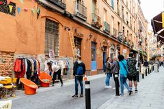 Free View Of Flea Market In Lavapies Quarter In Madrid Stock Photo - 118391460