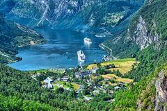 View Of Geiranger Fjord In Summer Royalty Free Stock Photos
