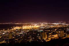 View Of Haifa In Israel With Night Lighting Royalty Free Stock Photos