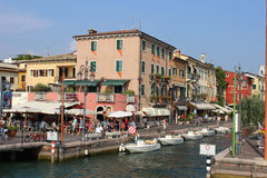 View Of Harbor Entrance Lazise From Lake Garda Royalty Free Stock Photos