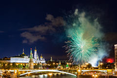 View Of Kremlin With Fireworks During Blue Hour In Moscow, Russia. 9 May Victory Day Celebration In Russia Stock Photos