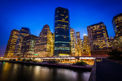 Free View Of Lower Manhattan From Pier 15 At Night, In Manhattan, New Royalty Free Stock Photo - 59279285