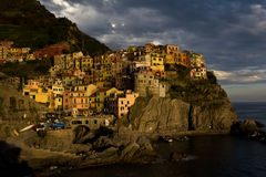 View Of Manarola And Its Harbour At Sunset Royalty Free Stock Image