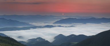 View Of Misty Fog Mountains In Autumn Stock Images