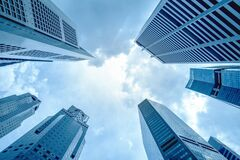 Free View Of Modern Business Skyscrapers Glass And Sky View Landscape Of Commercial Building In Central City Royalty Free Stock Photography - 178131177