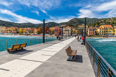 Free View Of Mole Leading To The Town Of Alassio,Italy Royalty Free Stock Images - 62043939