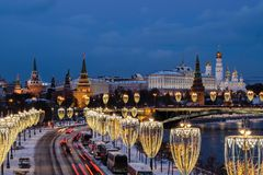 View Of Moscow River And Kremlin Embankment At The Night From Patriarchal Bridge Stock Images