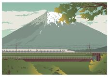 Free View Of Mountain Fuji And Traveling Train. Color Vector Flat Cartoon Illustration Royalty Free Stock Photography - 202860387