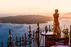 View Of Nea Kameni Island From Thira, Santorini, Greece