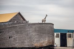 Free View Of Noah`s Ark Replica Seen Along The River In Netherlands. Royalty Free Stock Photos - 157939218