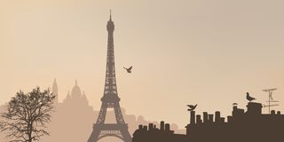 View Of Paris With The Eiffel Tower And The Montmartre Hill. Royalty Free Stock Image