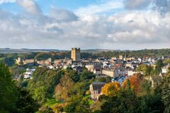 Free View Of Richmond Castle, North Yorkshire With The Town In The Foreground And Autumn Colours Royalty Free Stock Photo - 164781405