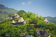 View Of Seychelles Coastline With Houses In The Forest Royalty Free Stock Photography