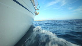 View Of Side Of Sailing Boat On Adriatic Sea In Croatia Royalty Free Stock Photos