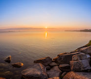 Free View Of Simcoe Lake During Sunrise Stock Images - 77429014