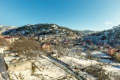 Free View Of Snow Covered Houses At Sertavul Mountain Pass Royalty Free Stock Photography - 104639817