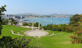 View Of Swanage Dorset England UK In Summer With Blue Sea And Sky Stock Images