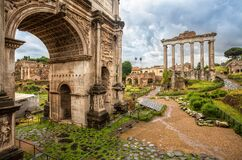 Free View Of The Arch Of Septimius Severus Settimio Severo In Roman Forum, Italy. Royalty Free Stock Photography - 170928597