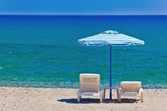 View Of The Beach With Chairs And Umbrellas Royalty Free Stock Photography