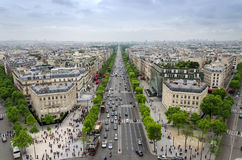 View Of The Champs Elysees From The Arc De Triomphe In Paris Royalty Free Stock Image