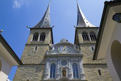 View Of The Church In Honor Of The Patron Saint Of Lucerne In Switzerland Stock Photo