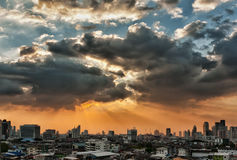 View Of The City At Sunset Royalty Free Stock Image