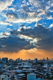 View Of The City At Sunset Royalty Free Stock Photos