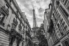 Free View Of The Eiffel Tower In Paris, France Black And White Colore Stock Images - 107670924