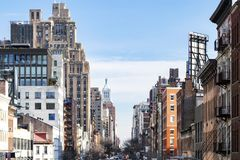 Free View Of The Historic Buildings Along 14th Street In Chelsea New York City Royalty Free Stock Images - 139238749