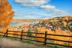 Free View Of The Houses Of Plyos Behind A Wooden Fence Royalty Free Stock Images - 160714559