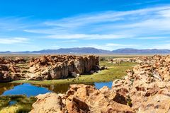 Free View Of The Laguna Negra, Black Lagoon Lake Wedged Between Rock Formations In Altiplano, Bolivia Stock Image - 150907811