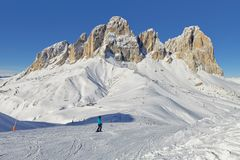 Free View Of The Sassolungo Langkofel Group Of The Italian Dolomites From The Val Di Fassa Ski Area, Trentino-Alto-Adige Region, Italy Stock Photography - 109674312