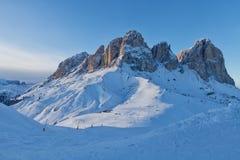 Free View Of The Sassolungo Langkofel Group Of The Italian Dolomites From The Val Di Fassa Ski Area, Trentino-Alto-Adige Region, Italy Royalty Free Stock Image - 111054746