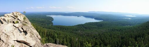 View Of The Siberian Taiga From The Stone Ridge Stock Photo