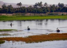 Free View Of Three Small Fishing Boats On The River Nile, Egypt Royalty Free Stock Photography - 195062147