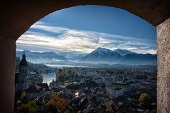 Free View Of Thun Through The Window Stock Photography - 157860642