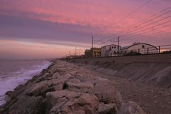 View Of Train Tracks Nar The Adriatic Sea At Sunset Royalty Free Stock Image