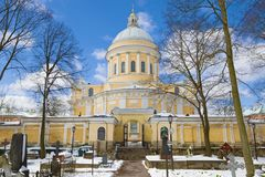 View Of Trinity Cathedral From The St. Nicholas Cemetery Sunny April Day. Alexander Nevsky Lavra, Saint Petersburg Stock Photography