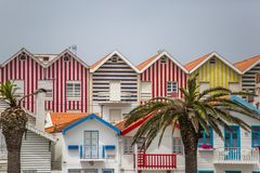 Free View Of Typical Costa Nova Beach House, Colorful Striped Wooden Beach Houses Royalty Free Stock Images - 157663219