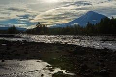 Free View Of Volcano Ostry Tolbachik From River Studenaya At Dawn. Kamchatka Peninsula. Stock Photo - 87484280
