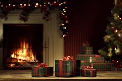 View Of Wrapped Gifts And Fireplace With Christmas Tree Stock Photos