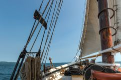 View Off Bow of 101 Year Old Wooden Schooner Royalty Free Stock Photography