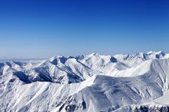 View on off-piste slope at nice sun day Royalty Free Stock Image