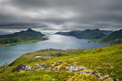 View from Offersoykammen, Lofoten islands, Norway Royalty Free Stock Image
