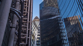 View of office buildings with reflections in the City of London Stock Images