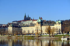 A view of the Office of the Czech government and the Prague Castle from the River Royalty Free Stock Image