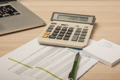 View of the office desk, calculations and notes, close up stock photos