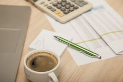 View of the office desk, calculations and notes royalty free stock photography