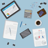 View of office desk including tablet, smartphone, financial and business objects. Flat vector design illustration of modern office workspace Stock Photography