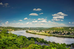 View Ohio River with Blue Sky and Clouds from Eden Park Stock Photo